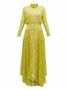 Preen By Thornton Bregazzi - Mary Ruffle-neck Devoré Maxi Dress - Womens - Yellow