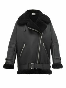 Acne Studios - Velocite Leather And Shearling Aviator Jacket - Womens - Black