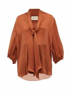 Alexandre Vauthier - Tie-neck Silk-satin Chiffon Blouse - Womens - Brown