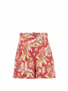 Peter Pilotto - High-rise Floral-print Shorts - Womens - Red Multi