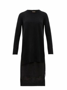 No. 21 - Lace Trimmed Layered Wool & Satin Sweater Dress - Womens - Black