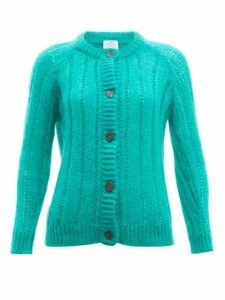 Prada - Long Line Mohair Blend Cardigan - Womens - Green
