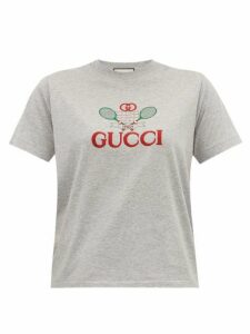 Gucci - Tennis Logo-embroidered Cotton-jersey T-shirt - Womens - Grey Multi