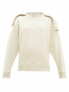 Jw Anderson - Oversized Press Stud Hood Cotton Sweatshirt - Womens - Beige