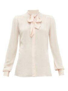 Giambattista Valli - Tie-neck Crepe Blouse - Womens - Light Pink