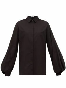 Françoise - Balloon-sleeve Cotton-poplin Shirt - Womens - Black