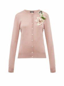 Dolce & Gabbana - Lily Appliqué Silk Cardigan - Womens - Pink
