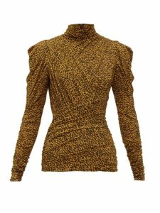 Isabel Marant - Jalford Ruched Roll-neck Top - Womens - Black Yellow
