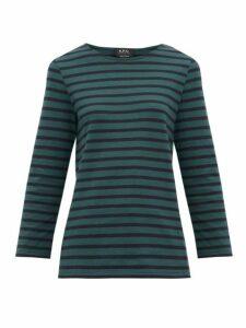 A.p.c. - Catarina Breton-striped Cotton Top - Womens - Green Multi
