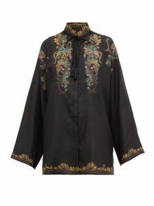Etro - Feather-print Silk-faille Blouse - Womens - Black Multi