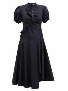 Peter Pilotto - Asymmetric Ruffled Cotton Midi Dress - Womens - Navy