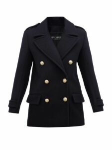 Balmain - Double Breasted Felted Virgin Wool Coat - Womens - Navy