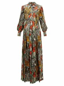 Gucci - Animal-print Silk Shirtdress - Womens - Orange Multi