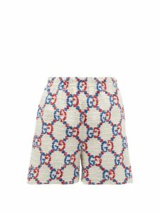 Gucci - GG Logo-jacquard Bouclé Tweed Shorts - Womens - White Multi