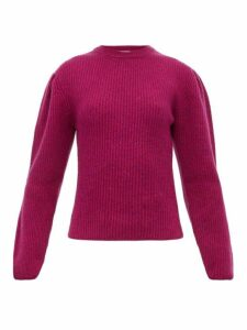 Lemaire - Box-pleat Ribbed Wool Sweater - Womens - Burgundy