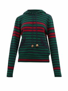 Wales Bonner - Striped Wool Blend Hooded Sweater - Womens - Navy Multi