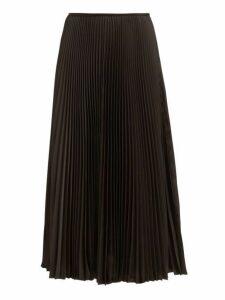 Joseph - Abbot Pleated Crepe De Chine Midi Skirt - Womens - Black