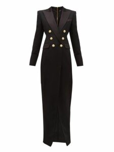 Balmain - Tailored Slit-front Wool-crepe Gown - Womens - Black