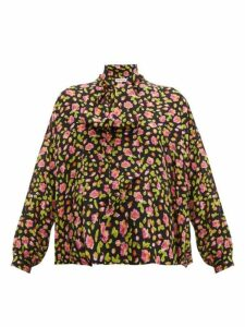 Balenciaga - Rose Print Tie Neck Silk Blouse - Womens - Black Multi