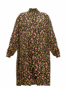 Balenciaga - Rose Print Silk Crepe Dress - Womens - Black Multi