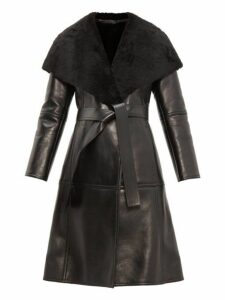Balenciaga - Shearling Collar Single Breasted Leather Coat - Womens - Black