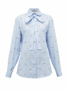 Gucci - Strawberry Fil-coupé Cotton-oxford Shirt - Womens - Blue Multi