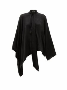 Balenciaga - Montaigne Pussy Bow Silk Jacquard Blouse - Womens - Black