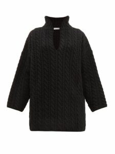 Balenciaga - Cable Knit Wool Sweater - Womens - Black