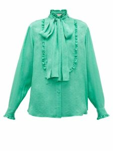 Gucci - Ruffled Floral-jacquard Silk Pussybow Blouse - Womens - Green