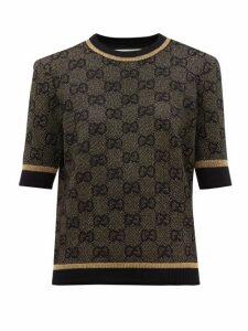 Gucci - Gg Jacquard Wool Blend Sweater - Womens - Black Gold