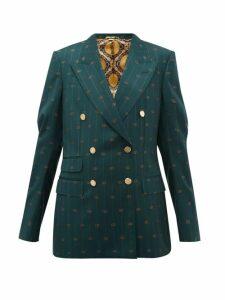Gucci - GG-pinstripe Double-breasted Wool-twill Blazer - Womens - Green Multi