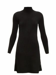 Balenciaga - Logo Tab High Neck Velvet Dress - Womens - Black