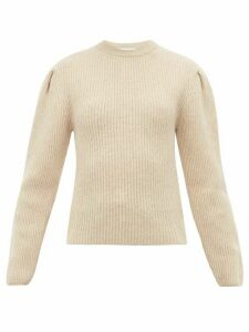 Lemaire - Pleated Sleeve Ribbed Wool Sweater - Womens - Cream