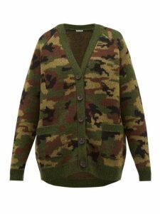 Miu Miu - Camouflage Jacquard Wool Cardigan - Womens - Green Multi