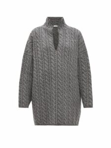 Balenciaga - Oversized Cable Knit Wool Sweater - Womens - Grey