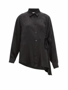 Balenciaga - Tie-side Logo-jacquard Silk Blouse - Womens - Black