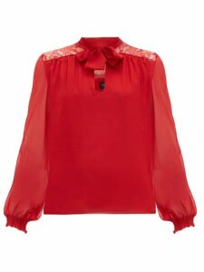 Giambattista Valli - Lace-panel Pussybow Silk Blouse - Womens - Red