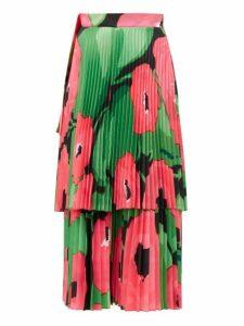 Richard Quinn - Poppy-print Pleated Satin Midi Skirt - Womens - Pink Multi