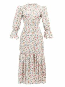 The Vampire's Wife - Floral Song Bird Printed Cotton Dress - Womens - White Multi