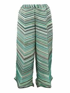 Issey Miyake - Striped Technical-pleated Jersey Trousers - Womens - Green Multi