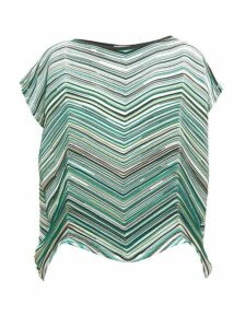 Issey Miyake - Striped Technical Pleated Jersey Top - Womens - Green Multi