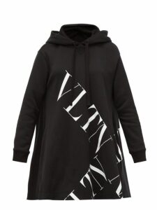 Valentino - Logo Print Cotton Jersey Hooded Sweatshirt - Womens - Black White