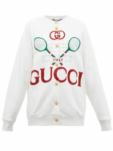 Gucci - Logo Embroidered Reversible Cardigan - Womens - Ivory
