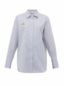 Stella Mccartney - Yellow Submarine-embroidered Striped Cotton Shirt - Womens - Light Blue