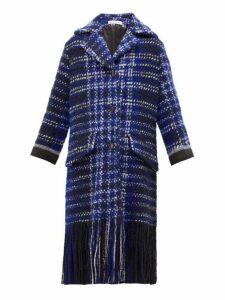 Marni - Tasselled Single-breasted Tweed Coat - Womens - Blue Multi
