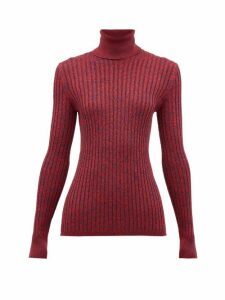 Gucci - Roll-neck Silk-blend Mélange Sweater - Womens - Red Multi