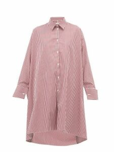 Maison Margiela - Striped Oversized Cotton Shirt - Womens - Burgundy Multi