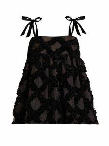 Cecilie Bahnsen - Celina Bow Strap Velvet Devoré Silk Top - Womens - Black