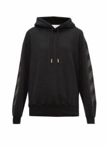 Off-white - Logo Print Cotton Hooded Sweatshirt - Womens - Black