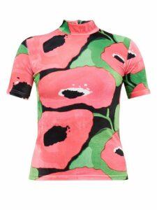 Richard Quinn - Poppy-print Velvet Top - Womens - Pink Multi